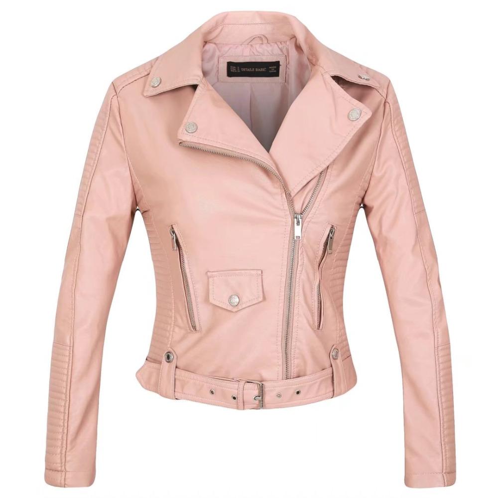 Women faux leather jacket black beige Biker Jackets Aviator coat ...