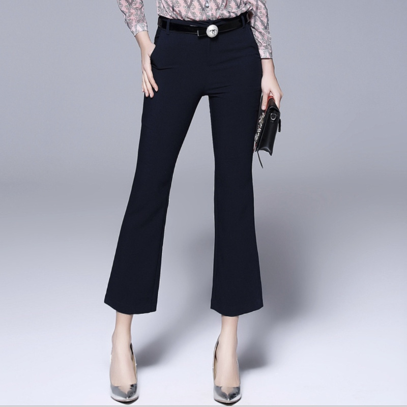 shorts women   Pants     Capris   Large size women's spring new casual flared   pants   slim micro-long   pants