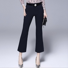 women Pants Capris Large size women's spring new casual flared pants slim micro-long pants black floral print flared long pants