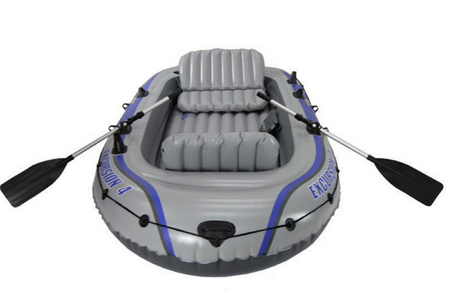 US $459 0 |INTEX EXCURSION 4 person inflatable boat 315*165*43cm, 137cm  Aluminium oars, inflation pump, repair patch-in Rowing Boats from Sports &