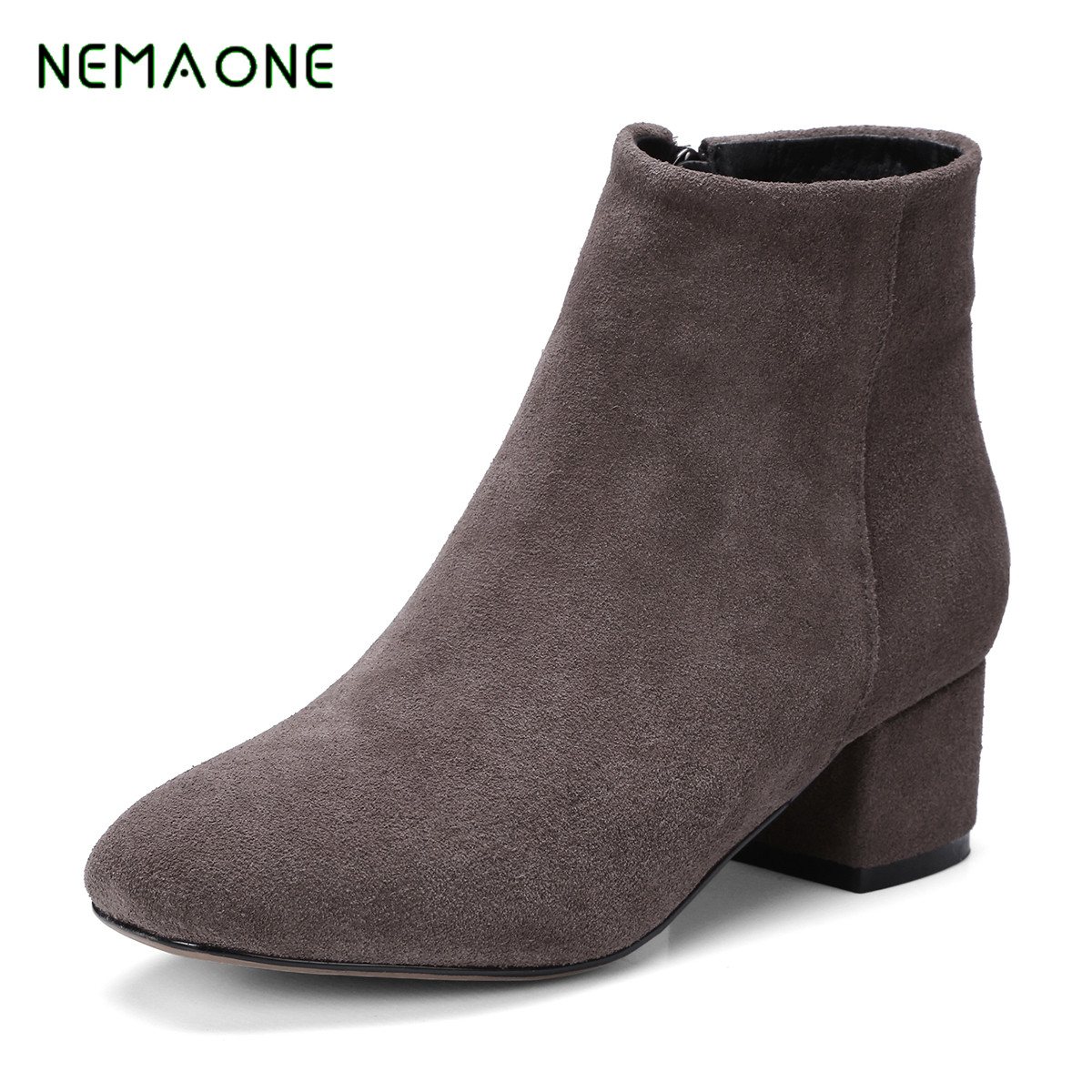 NEMAONE 2019 Genuine Leather Women Boots Flat Heel Vintage Handmade Women Shoes Ankle Boots 7 colors genuine leather women ankle boots vintage soft outsole shoes handmade full grain leather boots for women flat shoes