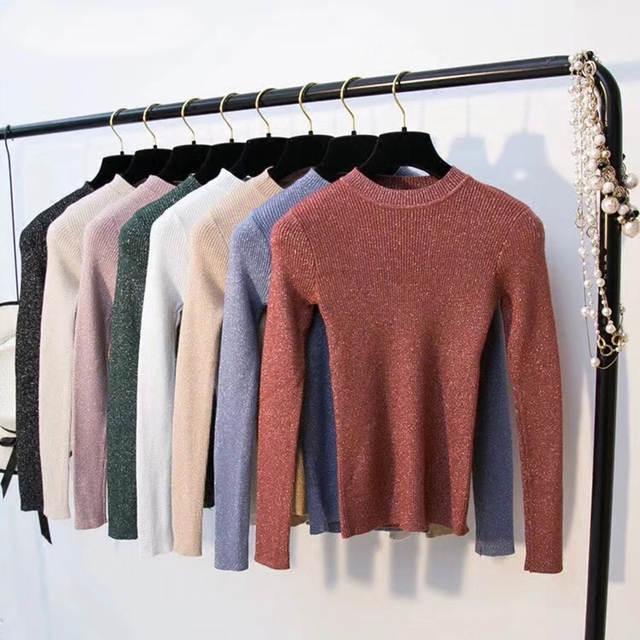 5a4824a208b Shiny Lurex Autumn Winter Sweater Women Long Sleeve Pullover Women Tops  Basic Womens Sweaters 2018 Winter Christmas Sweater Pull