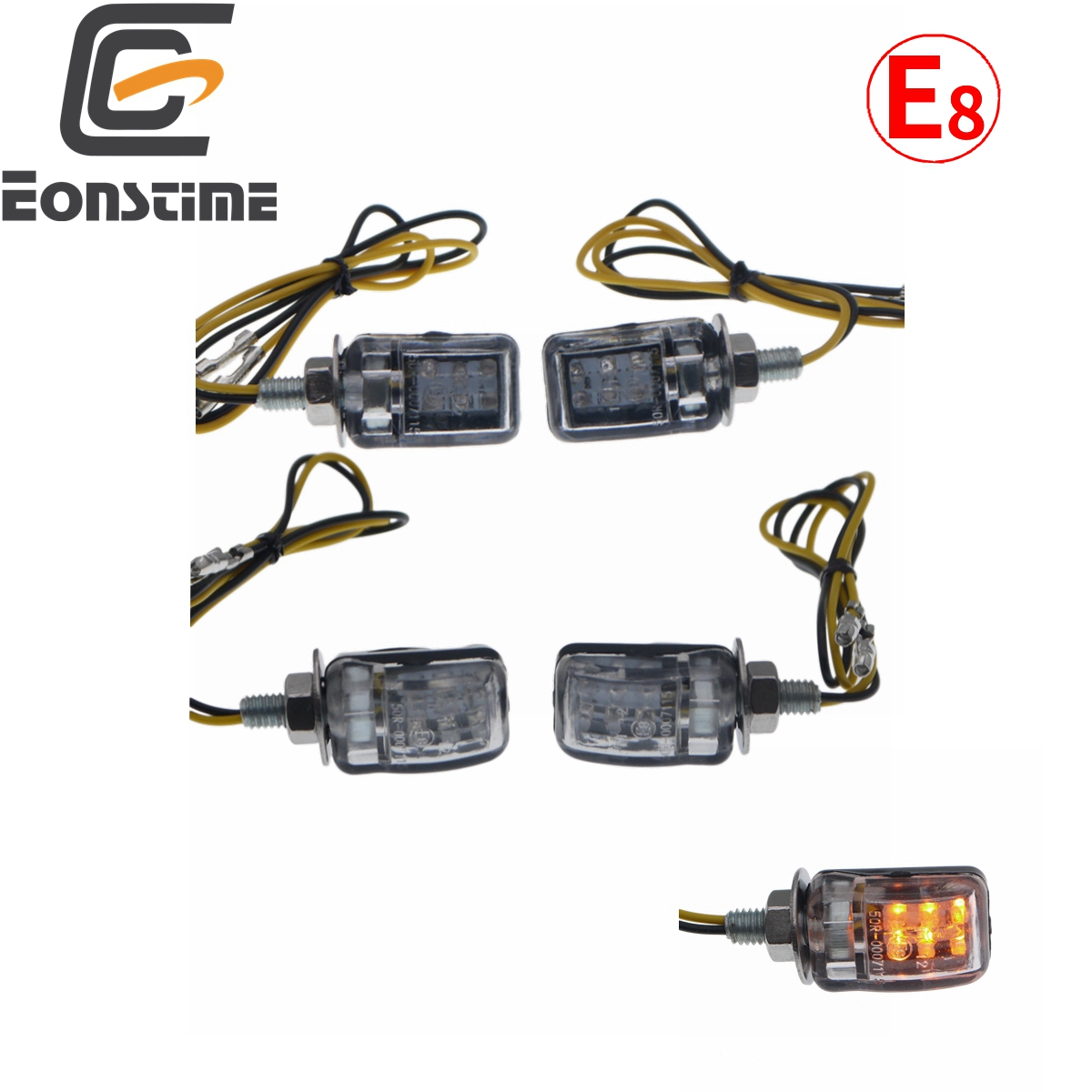 Eonstime 2pcs 12V Mini Turn Signal Light Indicators Motorcycle Bike Flashing Sliver/Black 6 LED Indicator Blinker Amber
