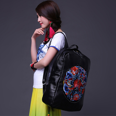 lady Flower Embroidery Ethnic Backpacks National Wind Women Handmade Personality Embroidered shoulder Bag leather Travel Bags free shipping vintage hmong tribal ethnic thai indian boho shoulder bag message bag pu leather handmade embroidery tapestry 1018