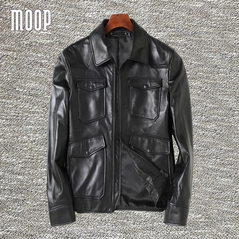 black genuine leather jacket coat men 100 sheepskin. Black Bedroom Furniture Sets. Home Design Ideas