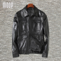 Black genuine leather jacket coat men 100% sheepskin motorcycle jackets chaqueta moto hombre veste cuir homme cappotto LT1035