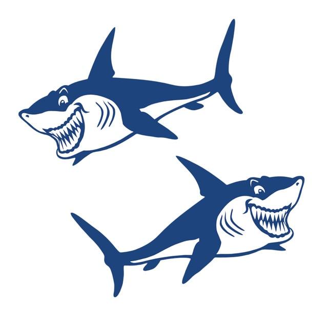 1 Pair Cute & Funny Shark Decals Vinyl Shark Emblem Badge Sticker For Automobiles Motorcycle Boat Canoe Computer Etc Waterproof