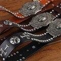 Натуральная Кожа Studed Ковбой Ремень Металлической Пряжкой Панк Старинные Пояса Крест Заклепки Рок Пояса Ремень Мужчин Джинсы Ceinture Homme MBT0171