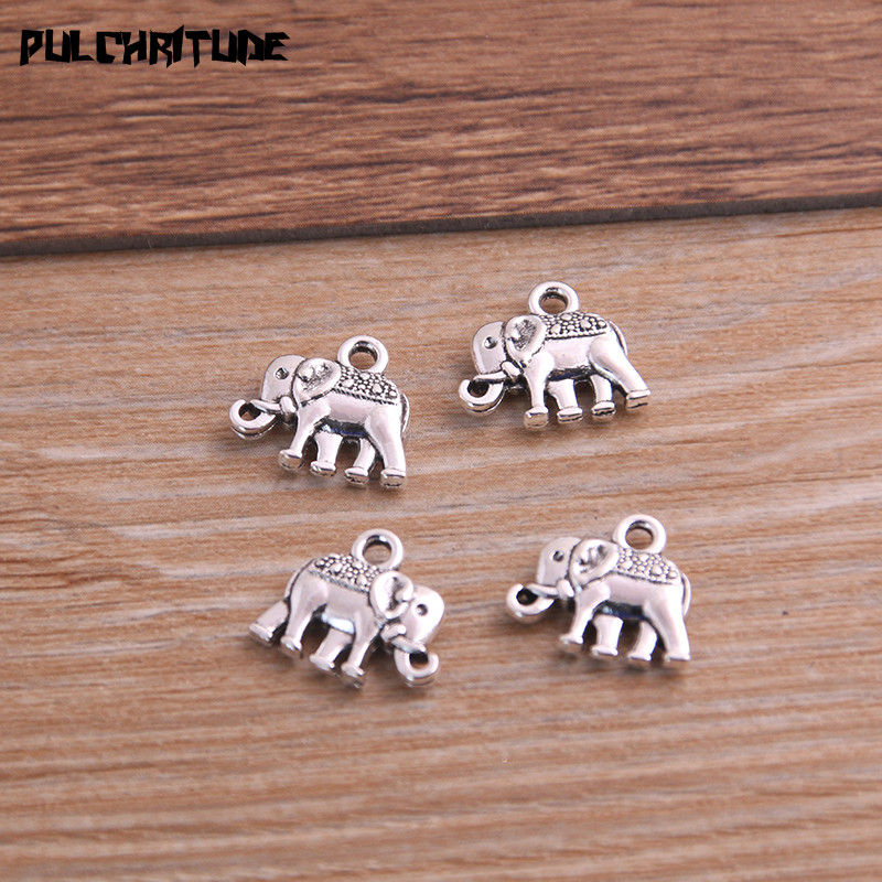 20pcs 12*13mm Three Color Metal Zinc Alloy Small Elephant Charms Fit Jewelry Animal Pendant Charms Makings 3