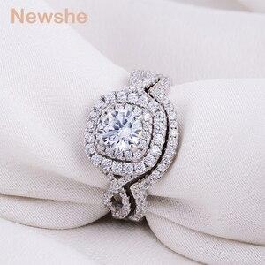 Image 4 - Newshe 2Pcs Hochzeit Ring Sets Klassische Schmuck 1,9 Ct AAA CZ Echtem 925 Sterling Silber Verlobung Ringe Für Frauen JR4844