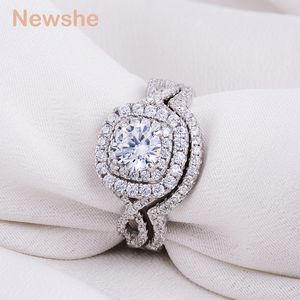 Image 4 - Newshe 2Pcs Wedding Ring Sets Classic Jewelry 1.9Ct AAA CZ Genuine 925 Sterling Silver Engagement Rings For Women JR4844