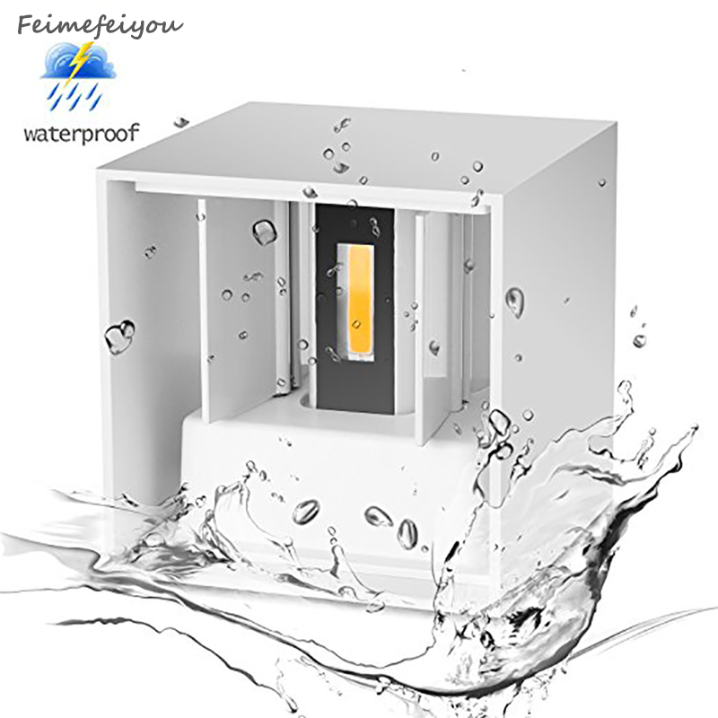 Lampada led IP67 interior exterior Led Lámpara de pared Aluminio Superficie ajustable Cubo montado Jardín Luz del pórtico lampara