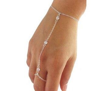 Pulseira de metal para mulheres, bracelete de metal dourado estilo boho escravo com pingente de dedo