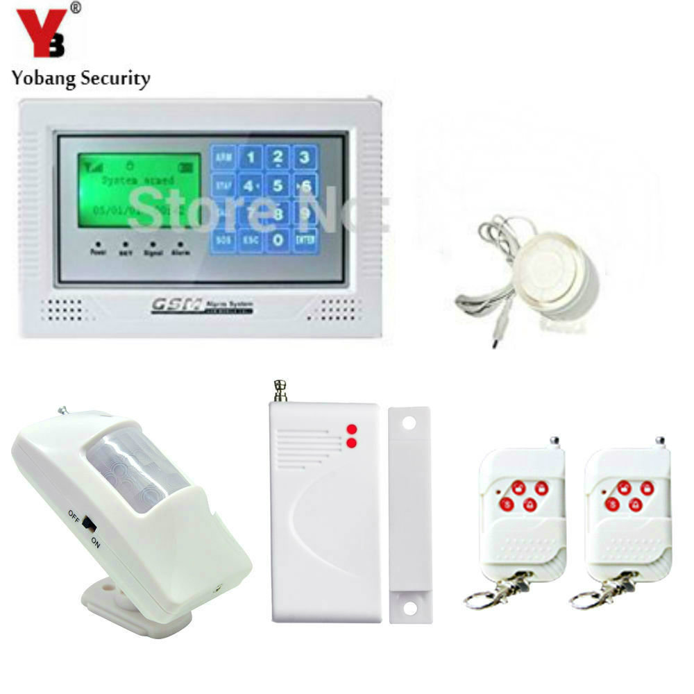 YobangSecurity Burglar Alarm system Security Wireless GSM Autodial Call Home House Intruder Alarm with PIR Motion Door Detector 2 receivers 60 buzzers wireless restaurant buzzer caller table call calling button waiter pager system