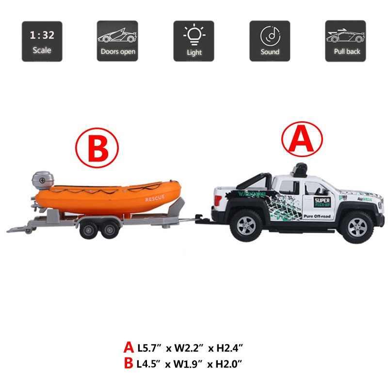 Hommat 1:36 Trailer Tow Truk Kemping Kayak Kendaraan Logam Alloy Diecast Mobil Mainan Model Mobil Tarik Kembali Mainan untuk anak-anak