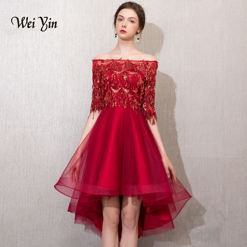 Weiyin nouvelle robe de Cocktail à paillettes bordeaux Nermaid Sexy col bateau hors de l'épaule femmes robe de bal courte robes de soirée WY829