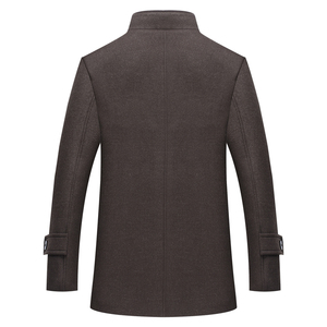 Image 3 - סתיו חורף גברים של צמר מעיל חדש אופנה צווארון עומד חם חושב מעיל מעיל מוצק שחור מזדמן צמר תעלת מעילי גברים
