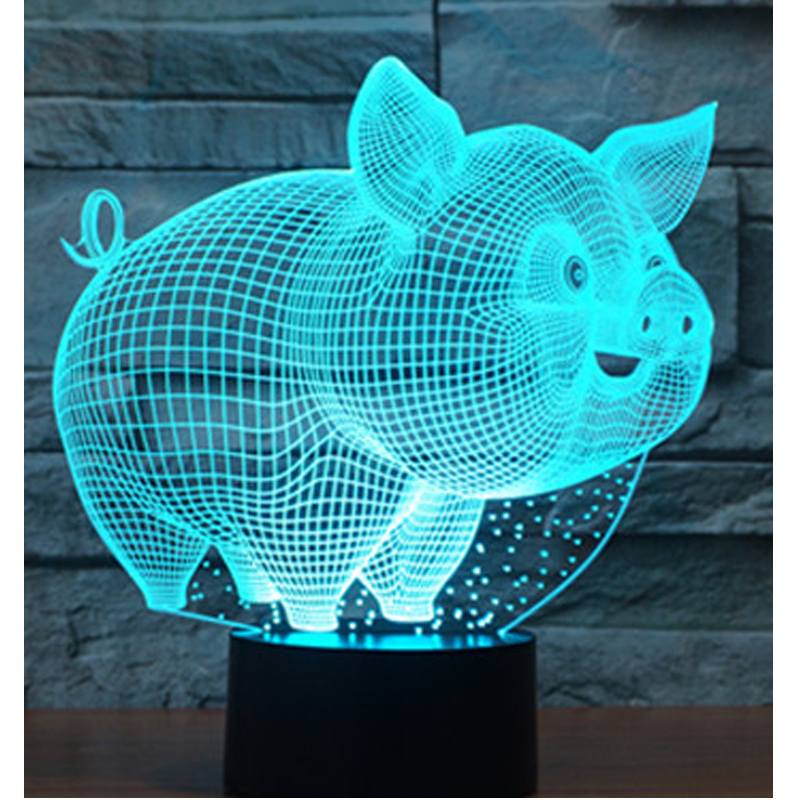 3D LED Night Lights Small Pig with 7 Colors Light for Home Decoration Lamp Amazing Visualization Optical Illusion Awesome футболка классическая printio my little pony