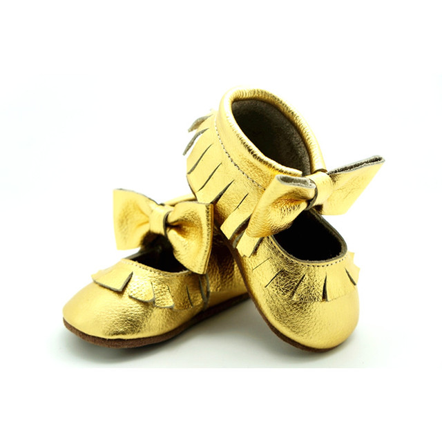 2016 Newest Gold Mary Jane Genuine Leather With Bow Little Girl Bebe Sapatos First Walkers Design Toddler Baby Moccasins Shoes