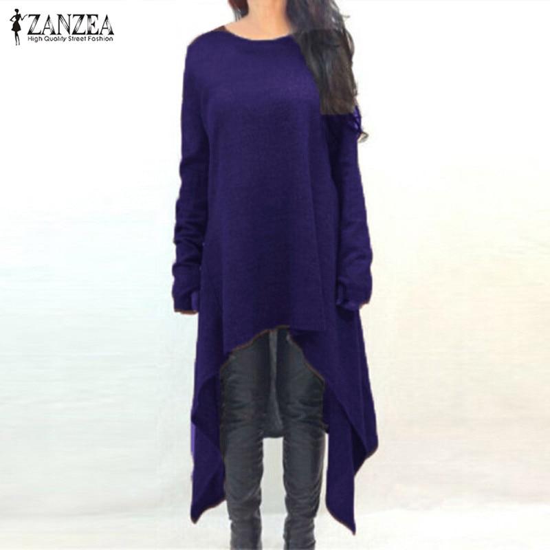 ZANZEA Women Sweater Dress 2018 Autumn Long Sleeve Asymmetric Hem Casual Loose Knitted Midi Vestidos Women Clothes Plus Size 2