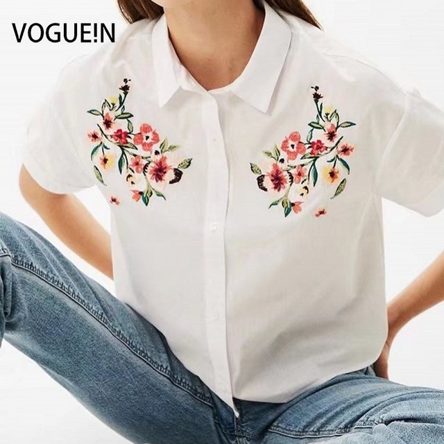 011a06cd VOGUEIN New Womens Short Sleeve Floral Embroidered White Button Down Shirt  Blouse Tops Size SML Wholesale
