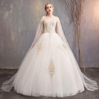 Romantic White Wedding Dress Long 2019 New Large Size Straps With Boat neck Sleeveless Bridal Wedding Photo Studio Dress Elegent