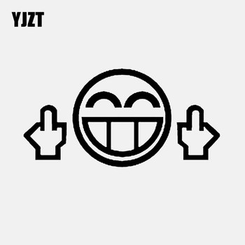 YJZT 14.2CM*7.1CM Middle Finger Funny Face Vinyl Decal Car Sticker Black/Silver C3-1897