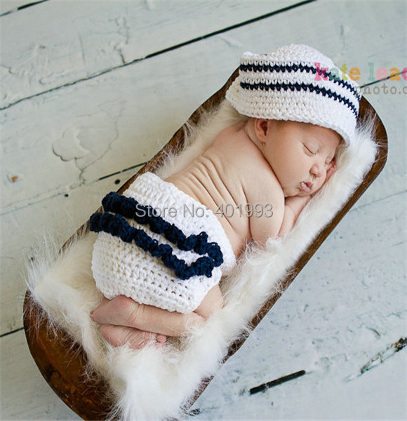 NEW Hand Crochet Photo Prop Baby Aviator Diaper Cover Hat Set Newborn  Outfit
