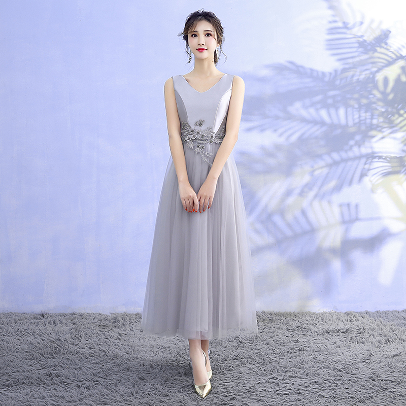 Bridesmaid Dress For Wedding Party Satin Midi Dress Sleeveless Embroidery Back Of Bandage Grey Colour