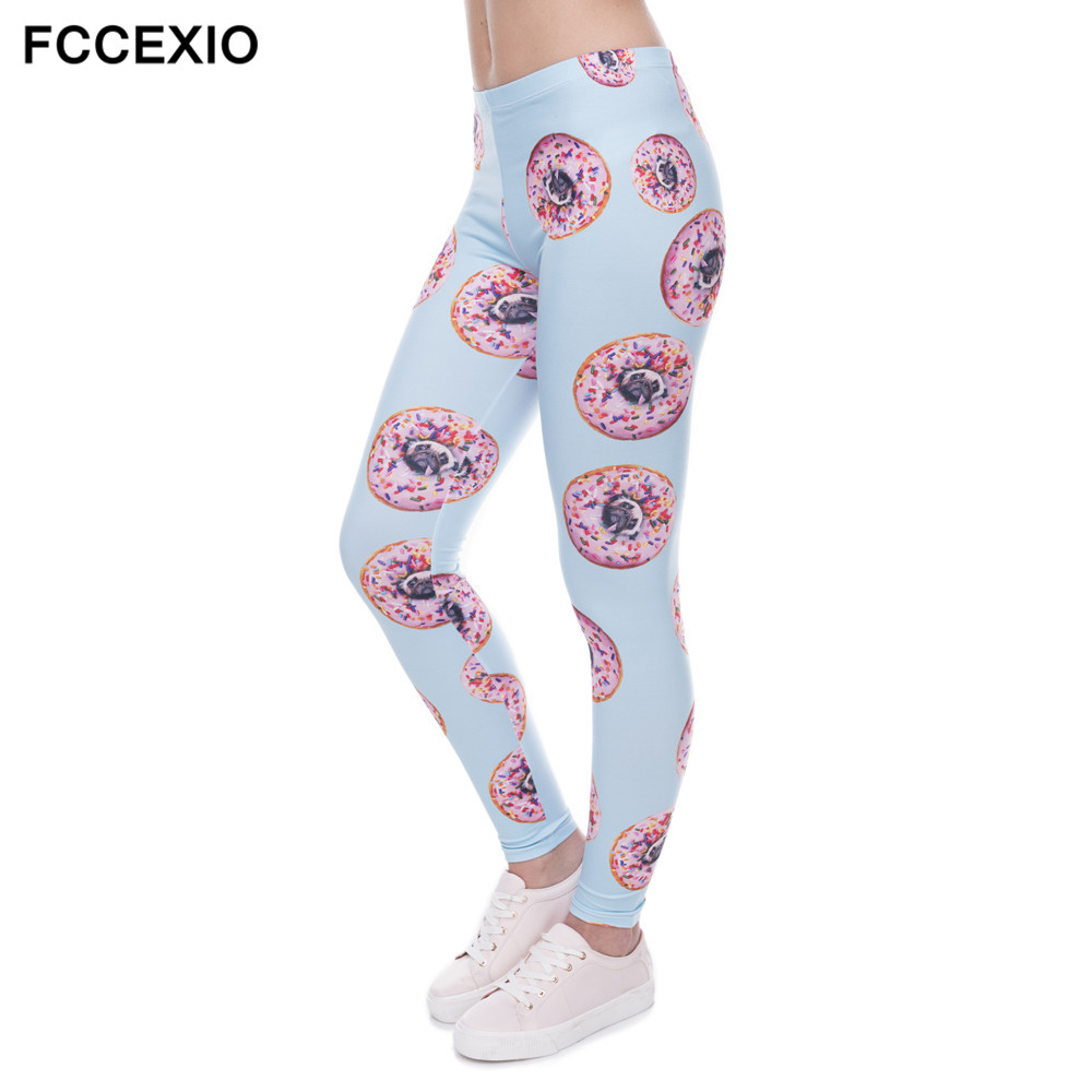 FCCEXIO 2017New arrival Women Leggings Trousers Donuts with pugs Print Legging Blue Leggins Slim High Elasticity Legins Womens P