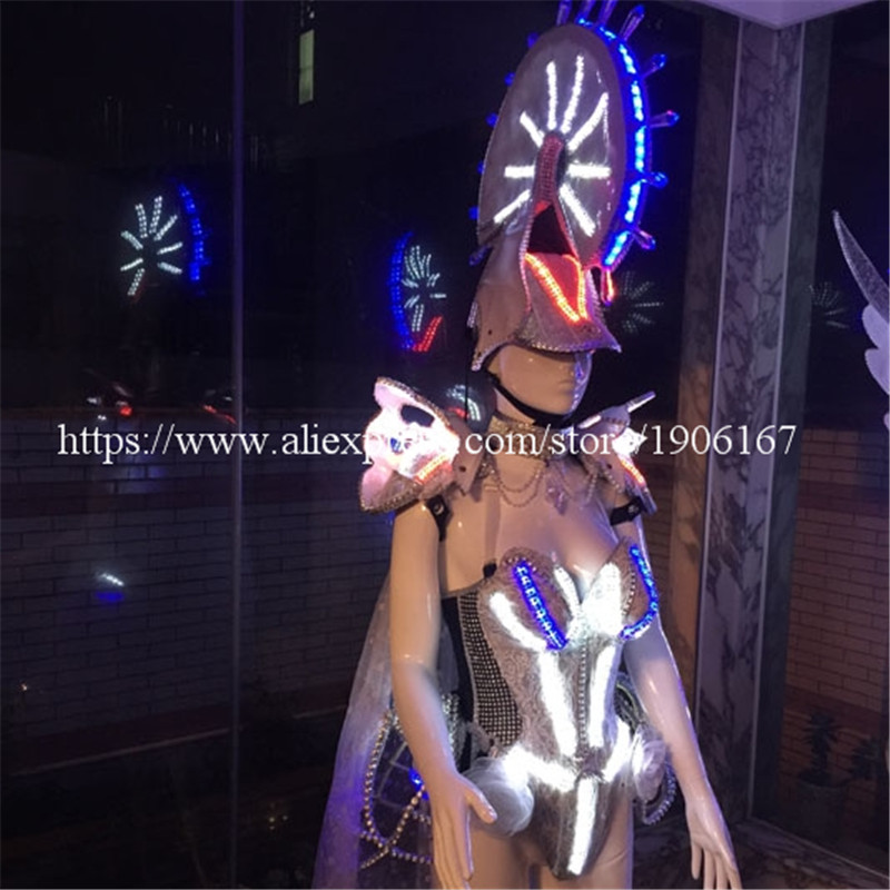 Led Luminous White Knight Sexy Dress Catwalk Clothes Carnival Victoria Ballroom Costume Stage Dance DJ Singer