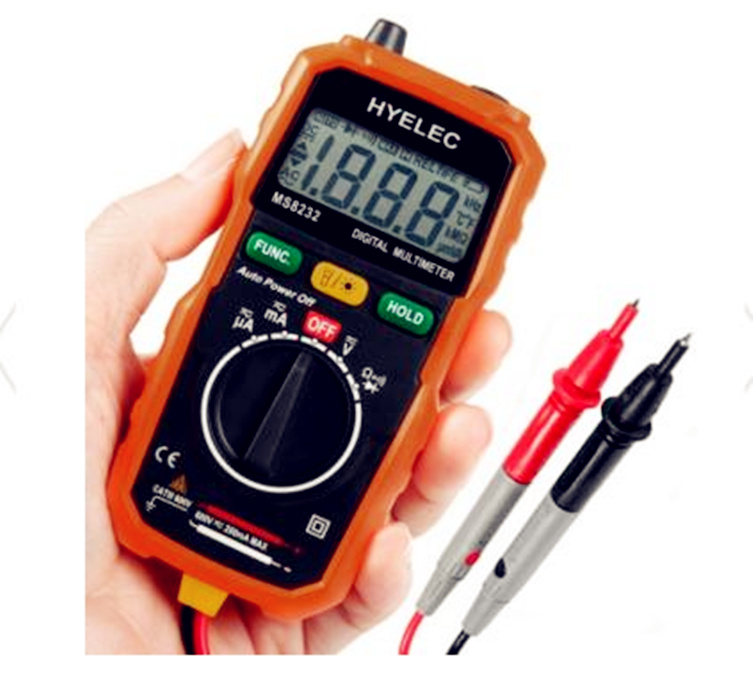 Mini Digital Multimeter Tester DC AC Voltage Current Tester HYELEC MS8232 LCD Multimeter Digital Voltmeter Ammeter Multitester