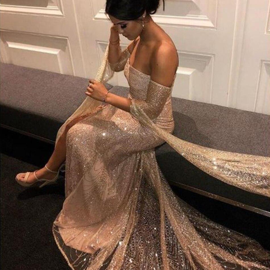 Robe Sexy de célébrité robe de soirée paillettes d'or robe longue dos nu femmes robes sans bretelles à fente haute Club Maxi Vestidos