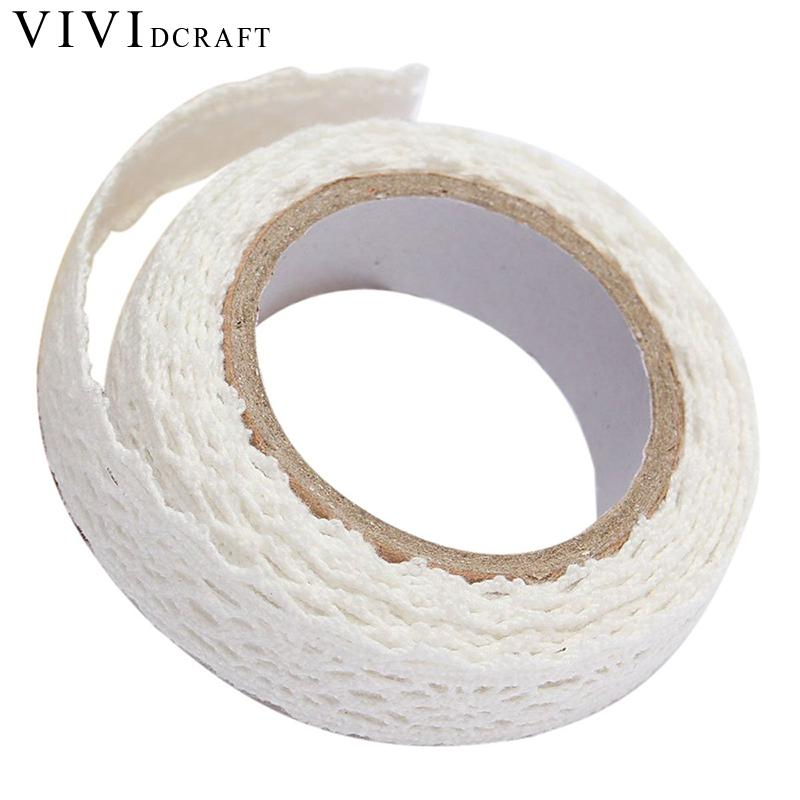 1PC DIY Lace Self-adhesive Decoration Tape Sticker Cotton Double Sides Natural Lace Roll Paper Scrapbooking Sticky