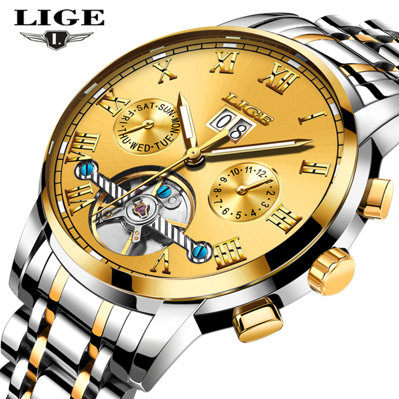 LIGE Automatic Watch Men Business Waterproof Gold Clock Mens Watches Top Brand Luxury Fashion Casual Sport Mechanical Wristwatch