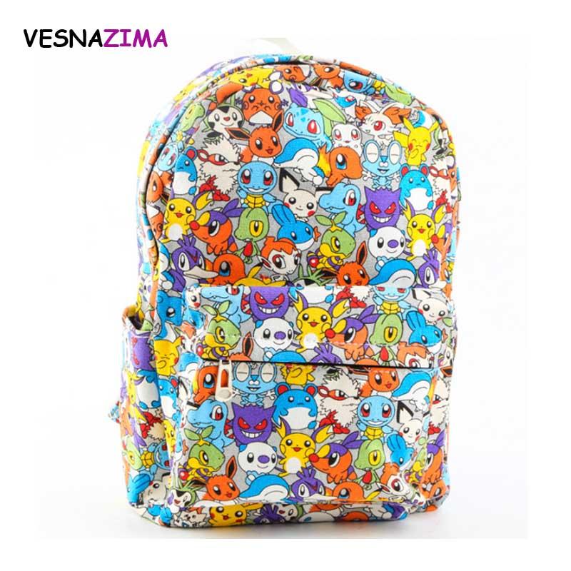 Women Backpacks pokemon mc Print Bookbags Graffiti Canvas Backpack School Bag for Girls Rucksack Female Travel Backpack WM233Z рюкзаки zipit рюкзак shell backpacks