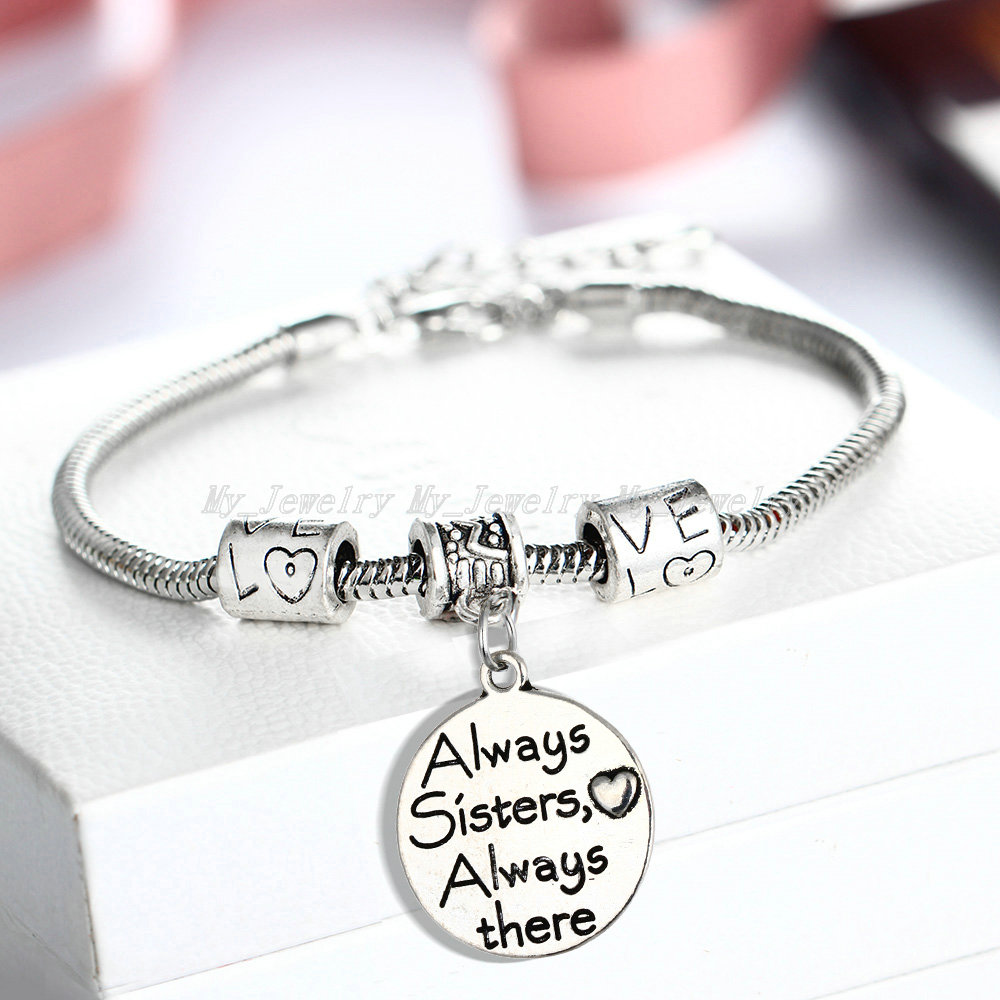 Bracelete de Encantos do Coração Amigo da Família Lote Sempre Irmã lá Mulheres Irmãs Presentes Charme Cadeia Amizade Jóias 12 pc –
