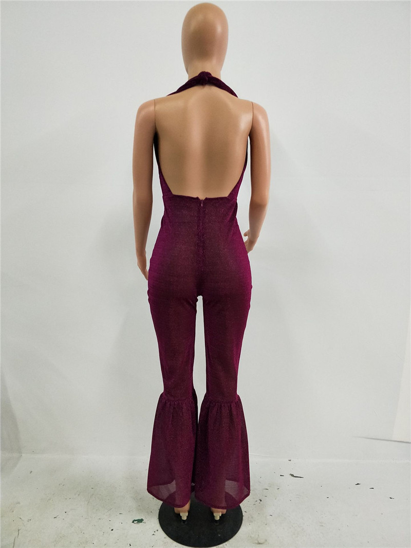 2017 Fashion Sexy Women Glitter Jumpsuit Sleeveless Halter Skinny Nightclub Ladies Backless Party Flared Sparkly Romper Catsuit