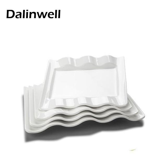 1pc Creative Western Square Pure White Melamine Dishes Plates Home Tray Panel Tableware Dinnerware Flatware