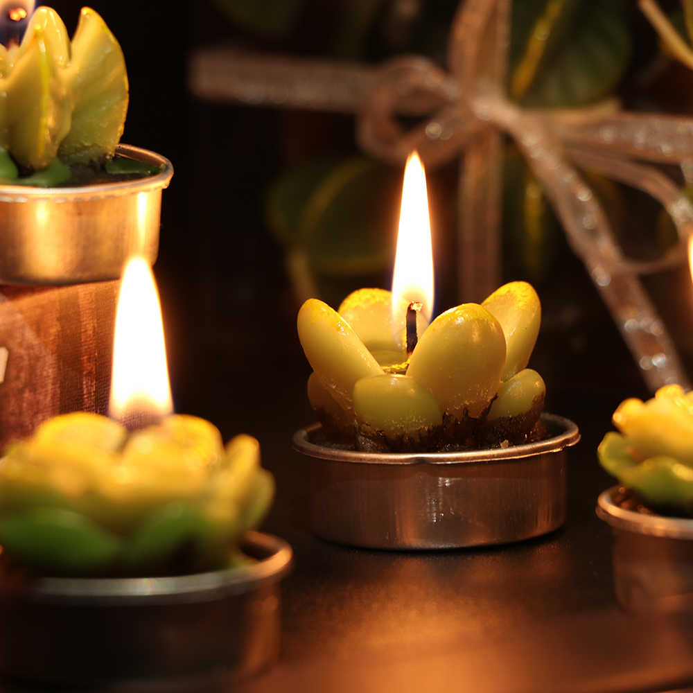 6 Pcs/Set Festival Handmade Mini Delicate Cactus Candles Smokeless Fake Plant Candle for Birthday Wedding Party Home Decor