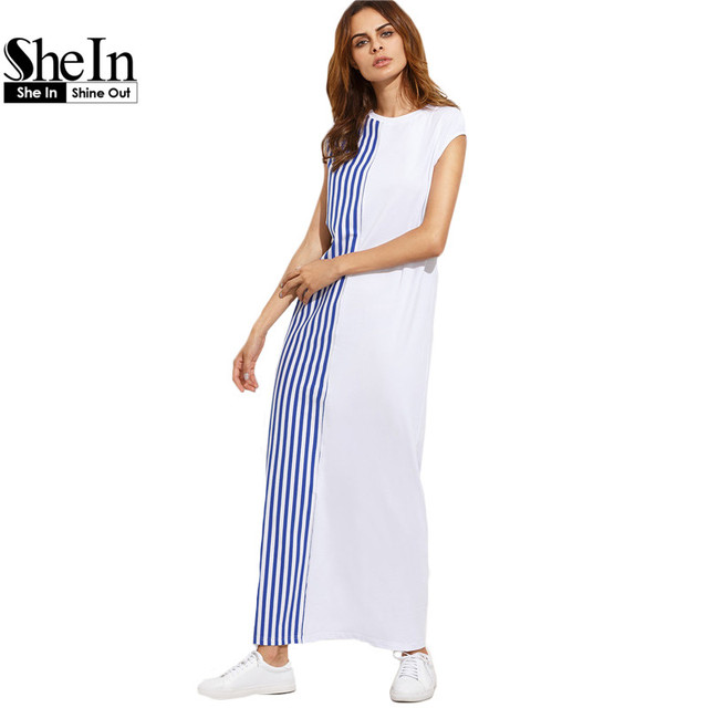 SheIn Long Summer Dresses For Women Casual Ladies Color Block Striped Round Neck Short Sleeve Loose Shift Maxi Dress