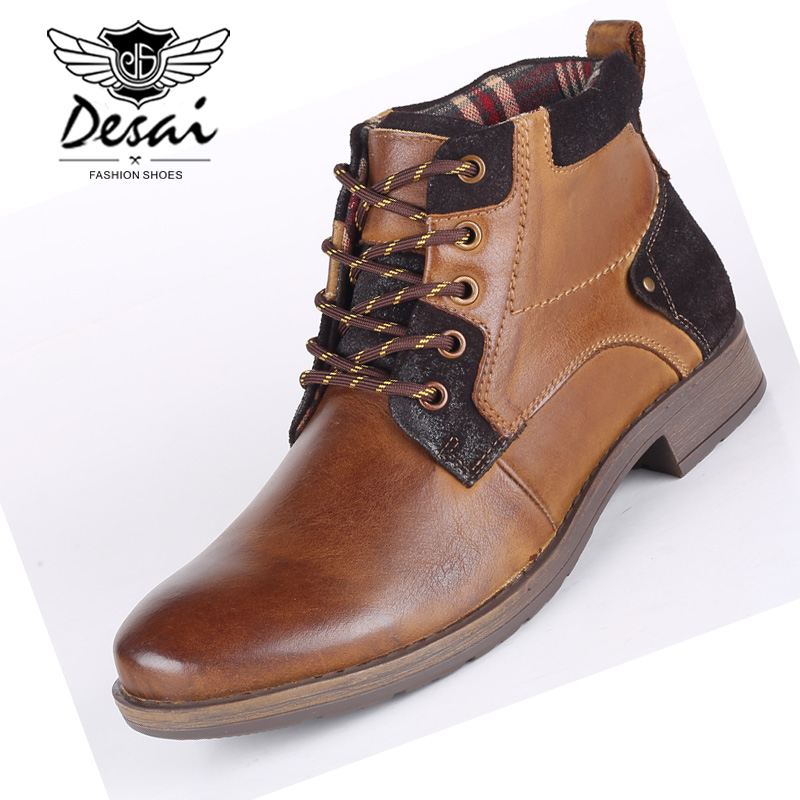 DESAI High Boots Shoes Men Genuine Leather Casual Snow Boots Plus Fur Men s High top