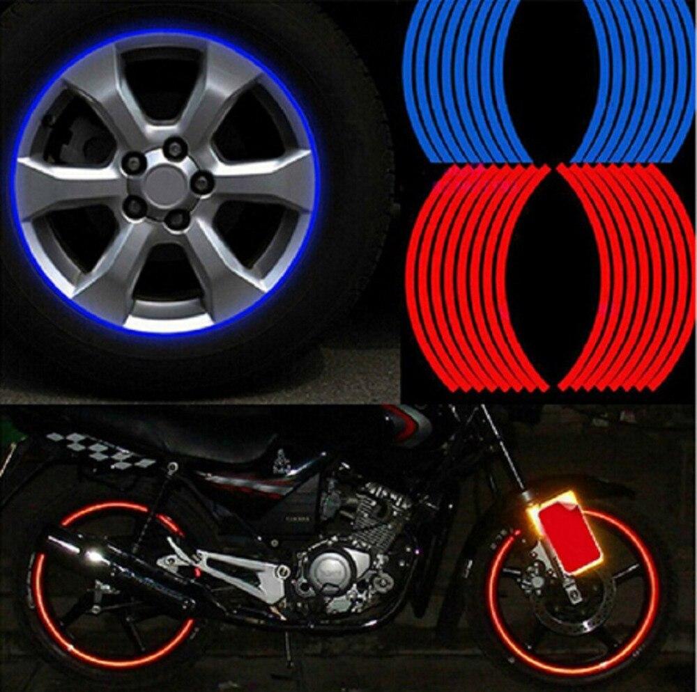 "16 Pcs Strips Motorcycle Wheel Sticker 17"" 18"" Reflective Decals Rim Tape Bike Car Styling For Yamaha Honda Harley Bmw Wholesale"