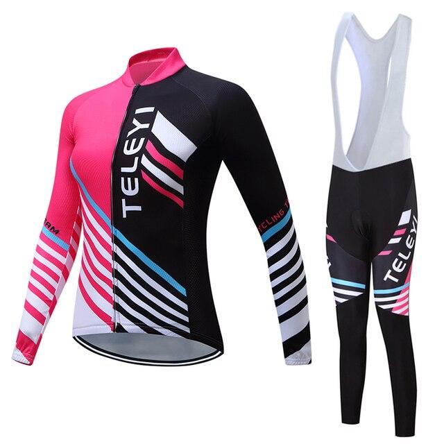 2019 mulher roupas de ciclismo calças JARDINEIRAS terno desgaste de manga Longa bicicleta kit de roupas Outono conjunto camisa bicicleta mtb esportes Ao Ar Livre vestido 2