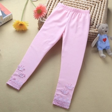 Kids Baby Butterfly Lace Autumn Warm Pink Pants Girl Stretchy Leggings Trousers Toddler Leggings