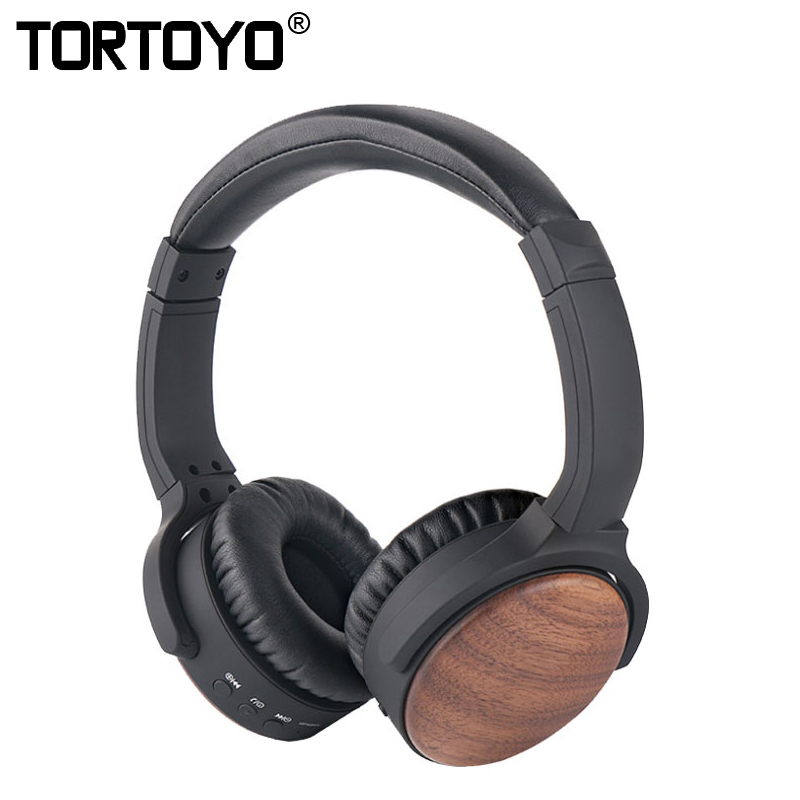 TORTOYO BH539 Wooden HIFI Smart Bluetooth Headphone Subwoofer Headset Wood Wireless Sports Earphone for iPhone 7