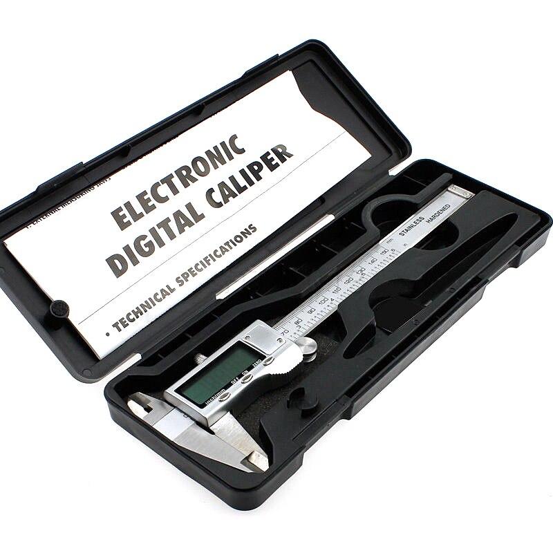 1 PC 150mm/6-inch endurecido Aço Inoxidável Eletrônico Digital Vernier Caliper Micrômetro Com Caixa E3372 T50