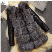 LZJ 2017 New Chất Lượng Cao Giả Cao Silver Fox Fur Coat PU Tay Áo Ấm Áo Khoác Mùa Đông Cáo Lớn Bãi Áo Khoác bán buôn