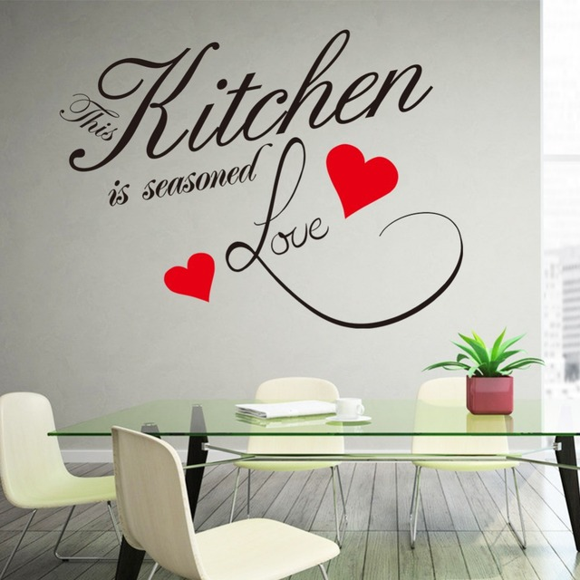 Wall sticker quote kitchen heart home dining room large for Dining room quote decals