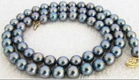 natural 8 9mm south seas peacock black green grey pearl necklace18 INCH >Selling jewerly free shipping